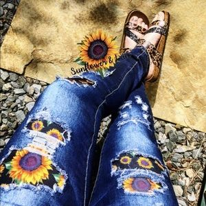 Denim - Sunflower patched jeans